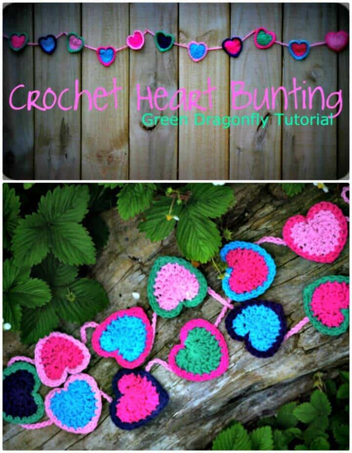 Free Crochet Valentine's Heart Bunting Pattern