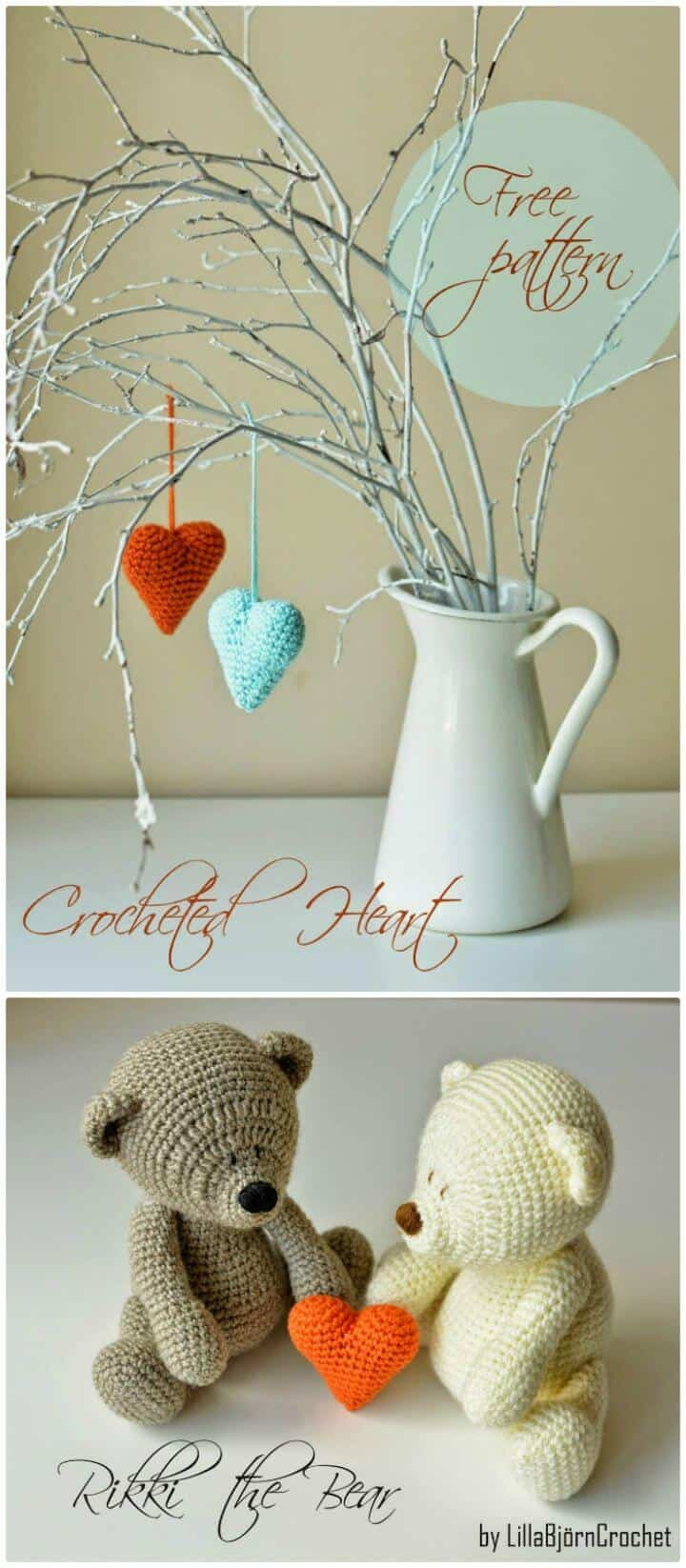 Easy Crochet Heart Pattern And Rikki Bear - Free Valentine Day Pattern
