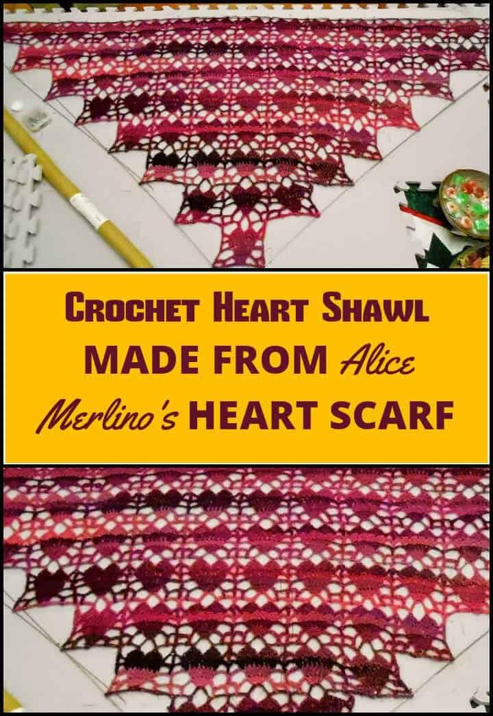 chal de ganchillo fácil de corazón hecho de una bufanda