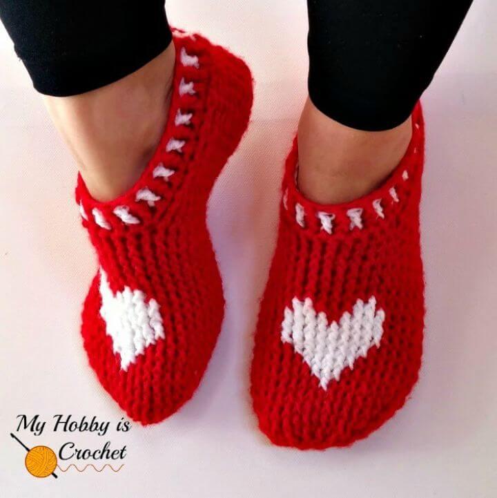 Crochet Heart & Sole Slippers - Free Crochet Pattern