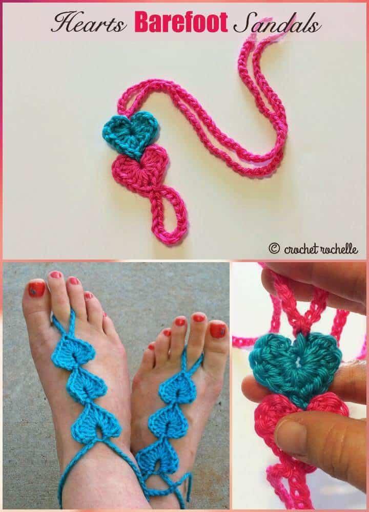 Crochet Hearts Barefoot Sandals