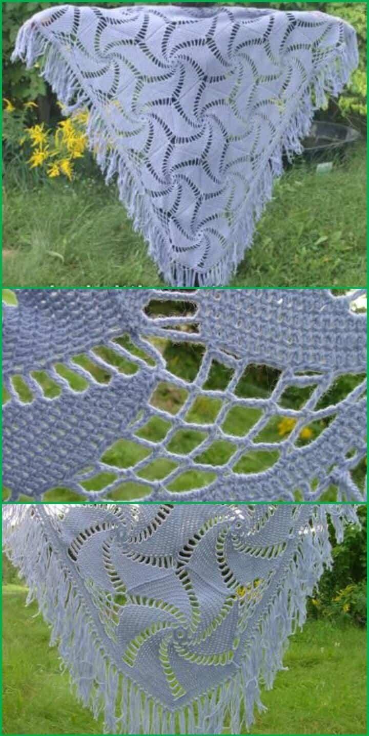 chal de ganchillo con motivo hexagonal