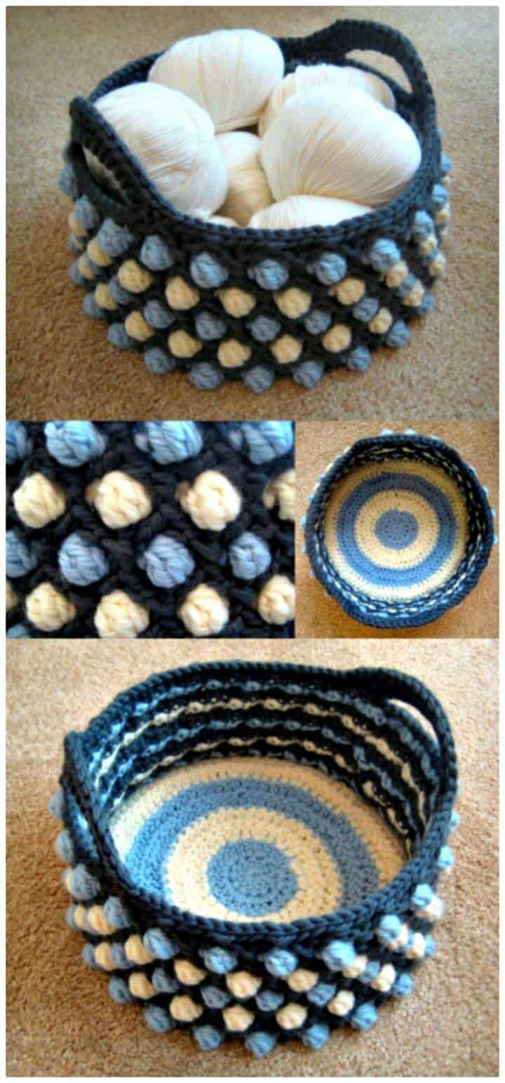 Cómo tejer una cesta pop en forma de panal de ganchillo