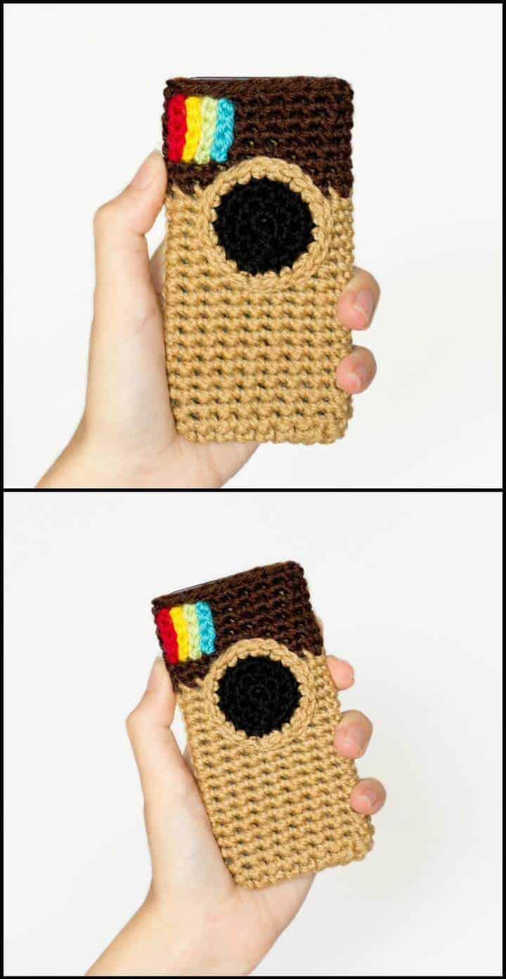 funda para teléfono móvil inspirada en instagram de ganchillo fácil
