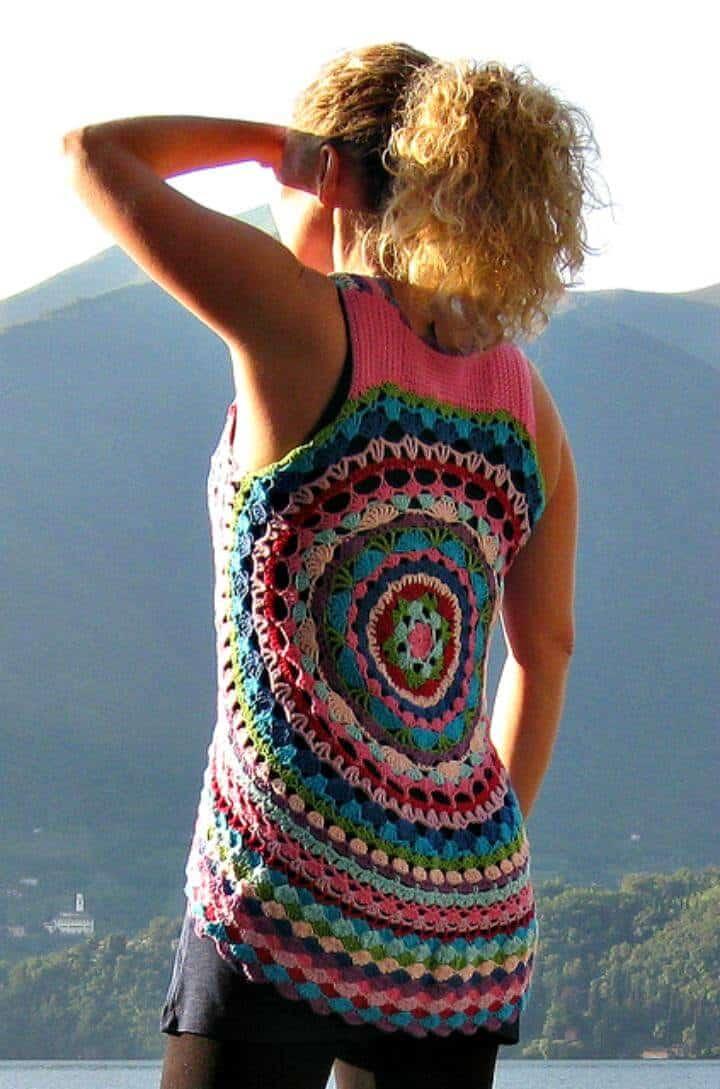 Chaleco Flower Power de Crochet LUL - Patrones circulares de chaleco de ganchillo