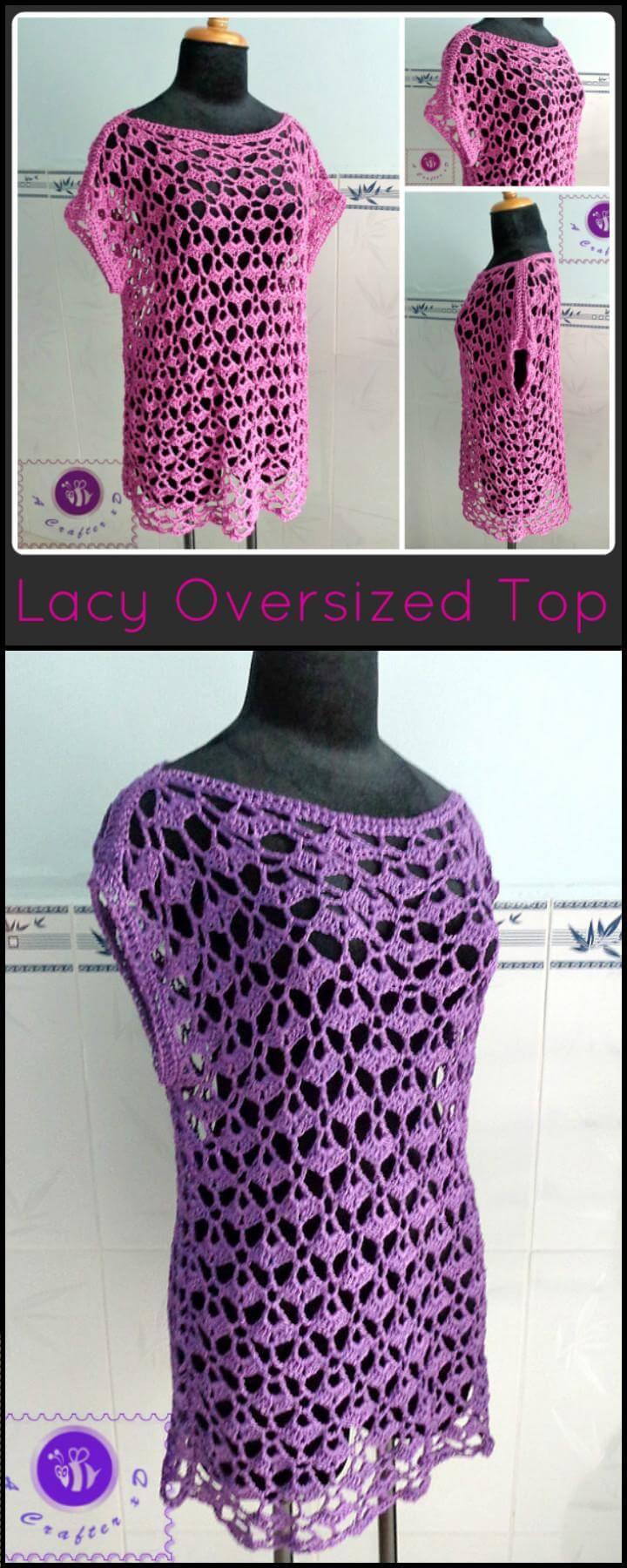 top extragrande con encaje de crochet respirable