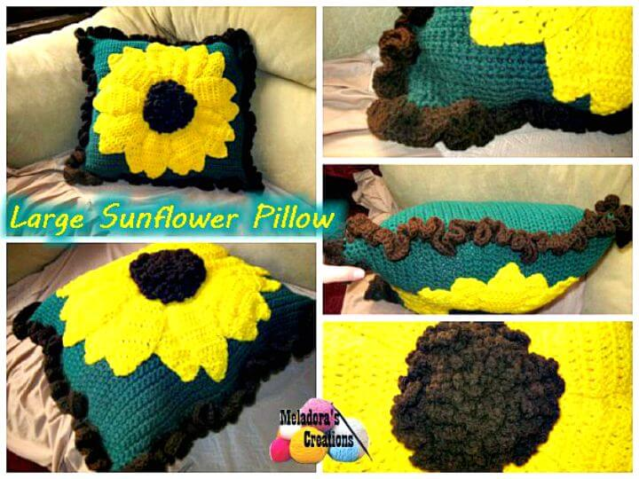 Patrón de almohada de girasol grande de ganchillo fácil y fácil
