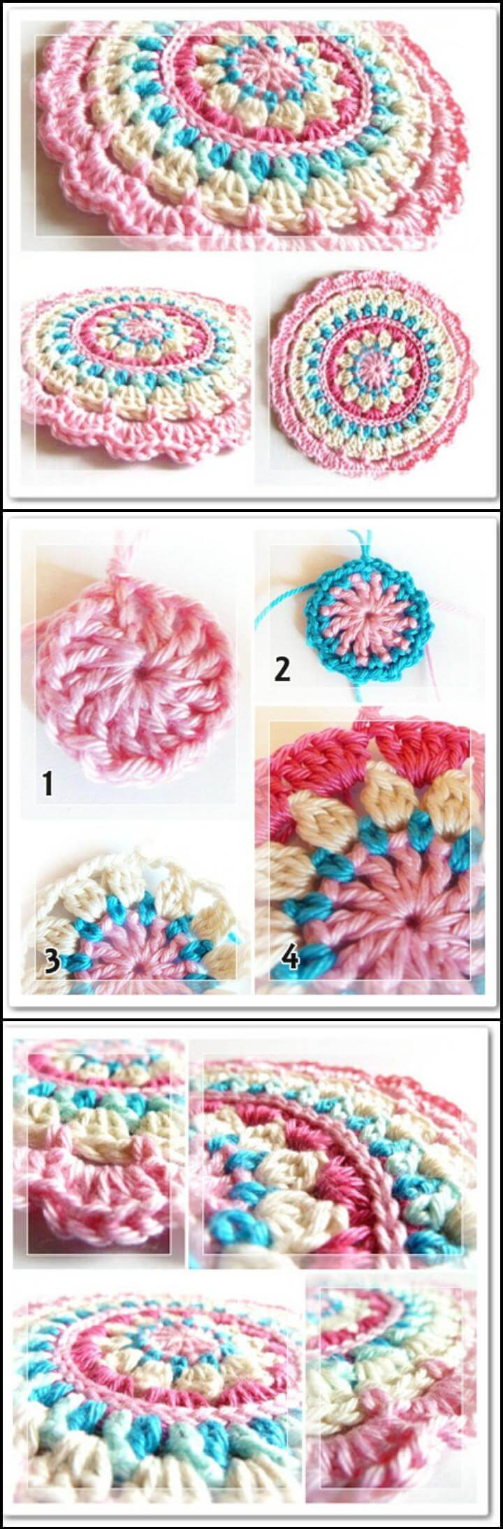 mandala de crochet pequeña primavera