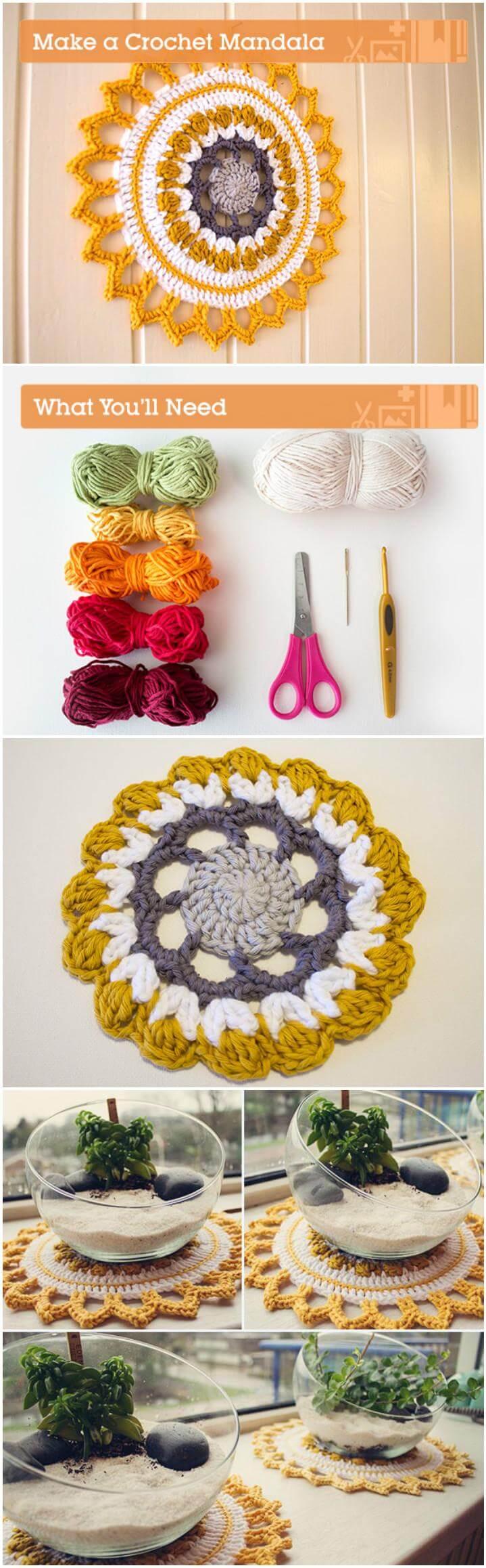 mandala de crochet de colores para el hogar