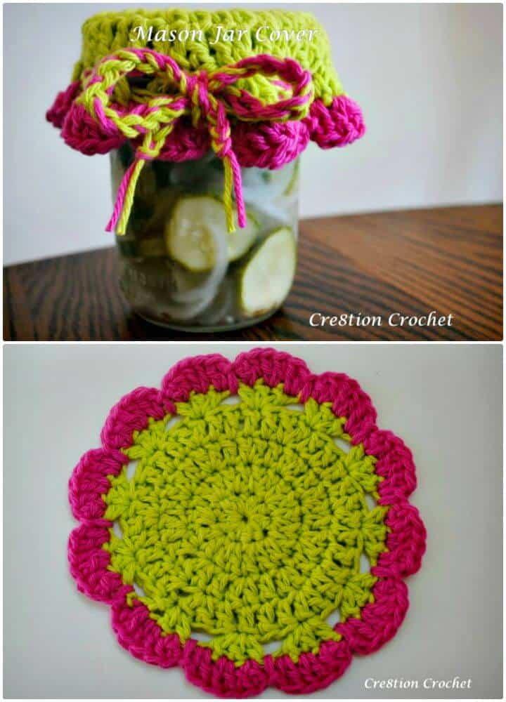 Cómo tejer la tapa de un tarro de cristal en crochet - Patrón gratuito