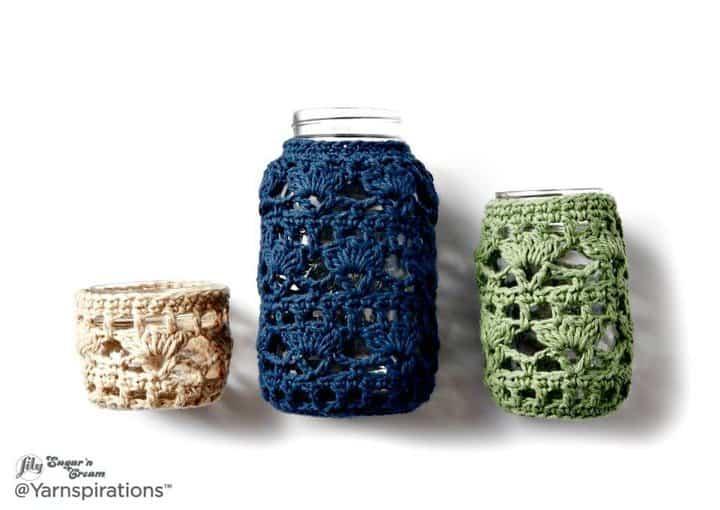 Cómo hacer crochet Mason Jar Cozies Free Easy Crochet Home Decor Pattern