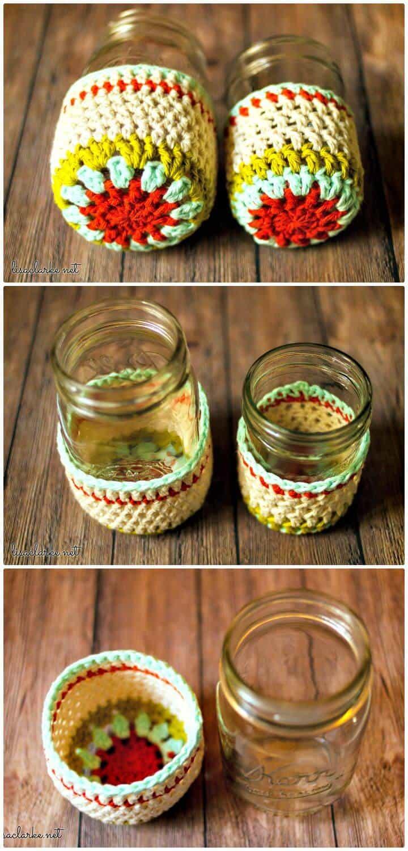 Fácil Crochet Mason Jar Cozies - Patrón gratuito