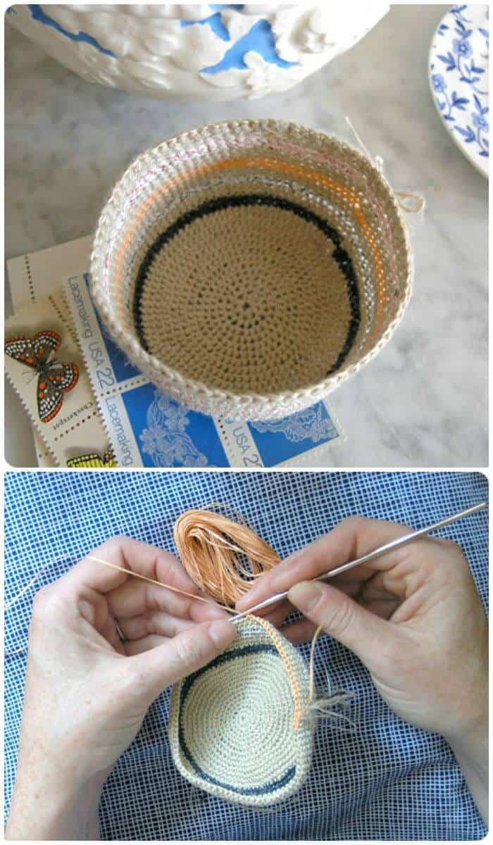 Patrón de cestas de ganchillo a crochet gratis