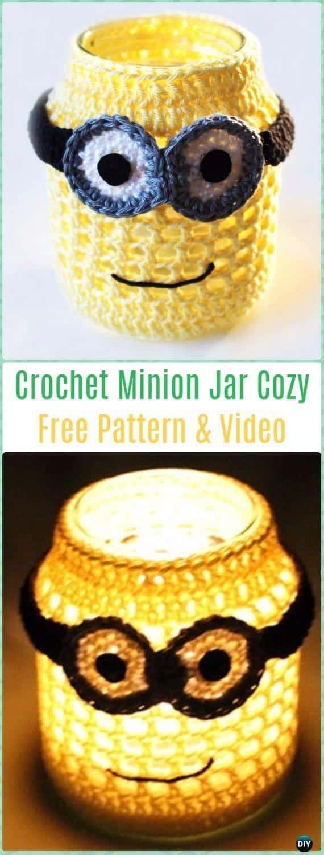Cómo crochet Minion Jar Cozy - Patrón gratuito