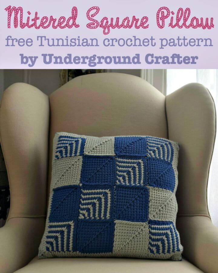 Cómo tejer una almohada cuadrada ingleteada en crochet - Patrón gratuito
