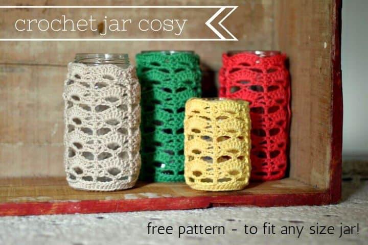 Tarro multicolor de ganchillo acogedor - patrón gratuito
