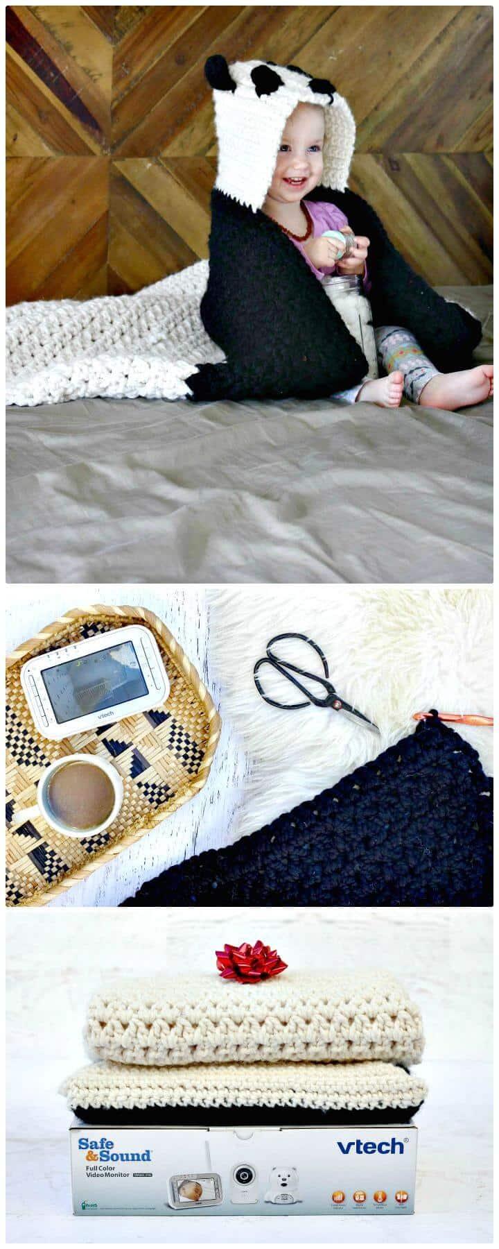 Panda de ganchillo fácil con capucha bebé afgano - Patrón libre