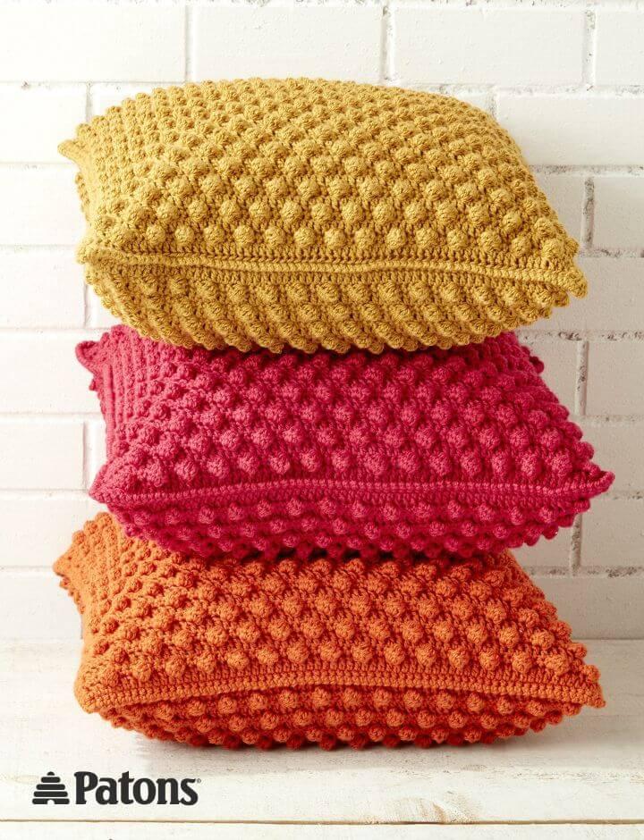 Patrón de almohadas de crochet gratis Patons Bobble-licious