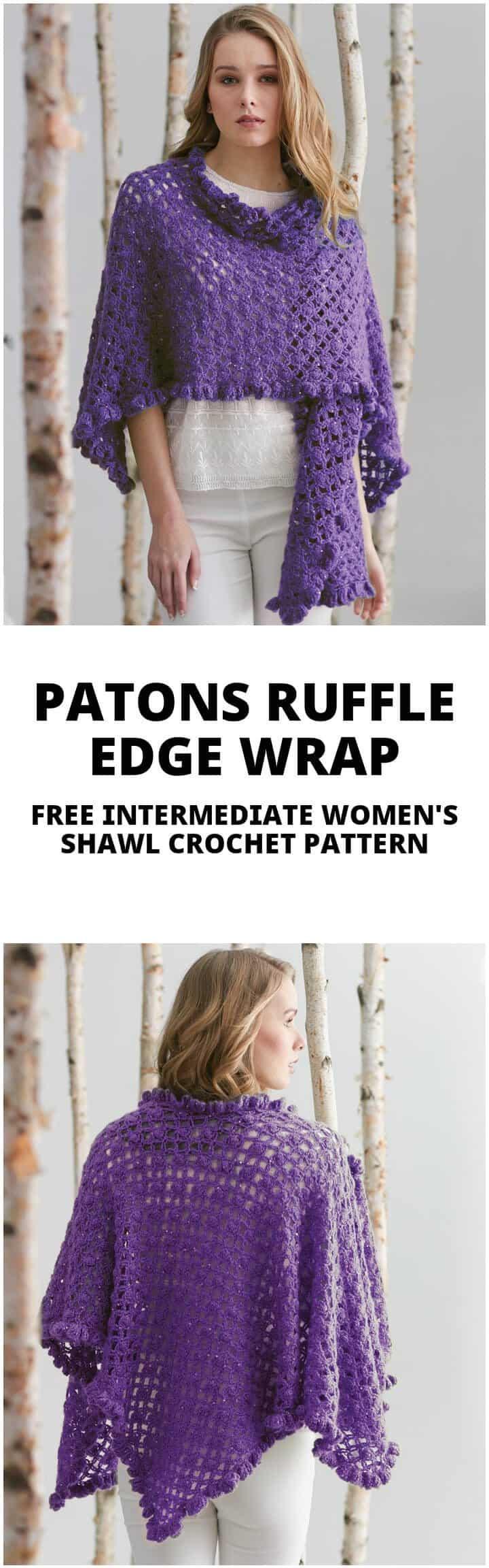 patons crochet gratis con borde de volantes o chal