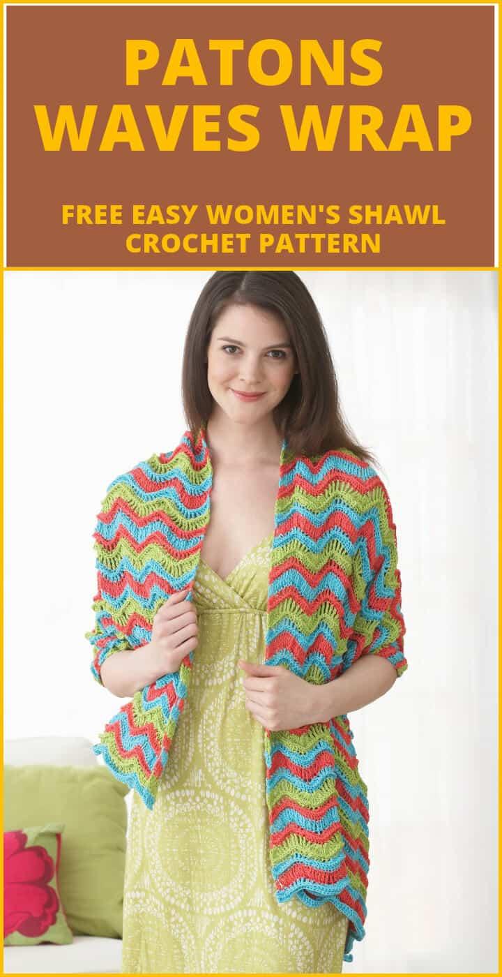 crochet patons ondas gratis abrigo o chal