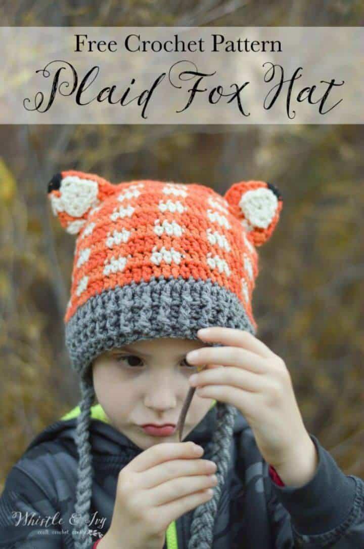 Sombrero de zorro a cuadros de ganchillo - Patrón libre