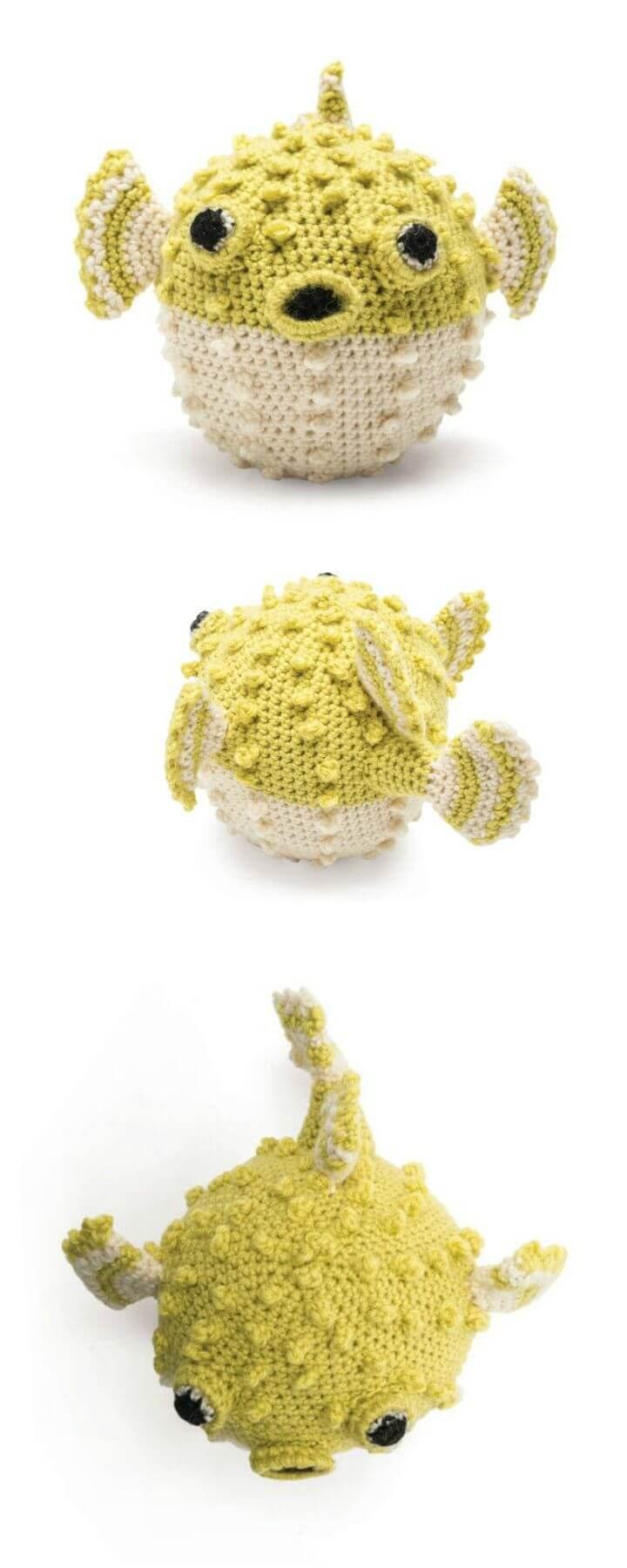 Patrón de pez globo de ganchillo gratis