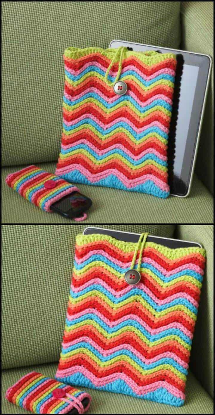 fácil de crochet arco iris rayas chevron mesa o caja del teléfono