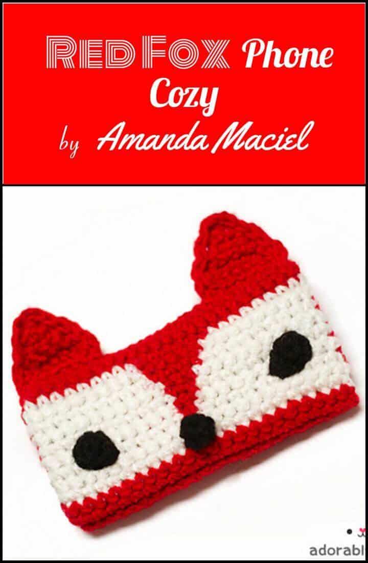 crochet gratis red fox phone acogedor patrón gratis