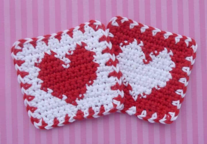 Easy Crochet Red And White Heart Coaster - Free Pattern