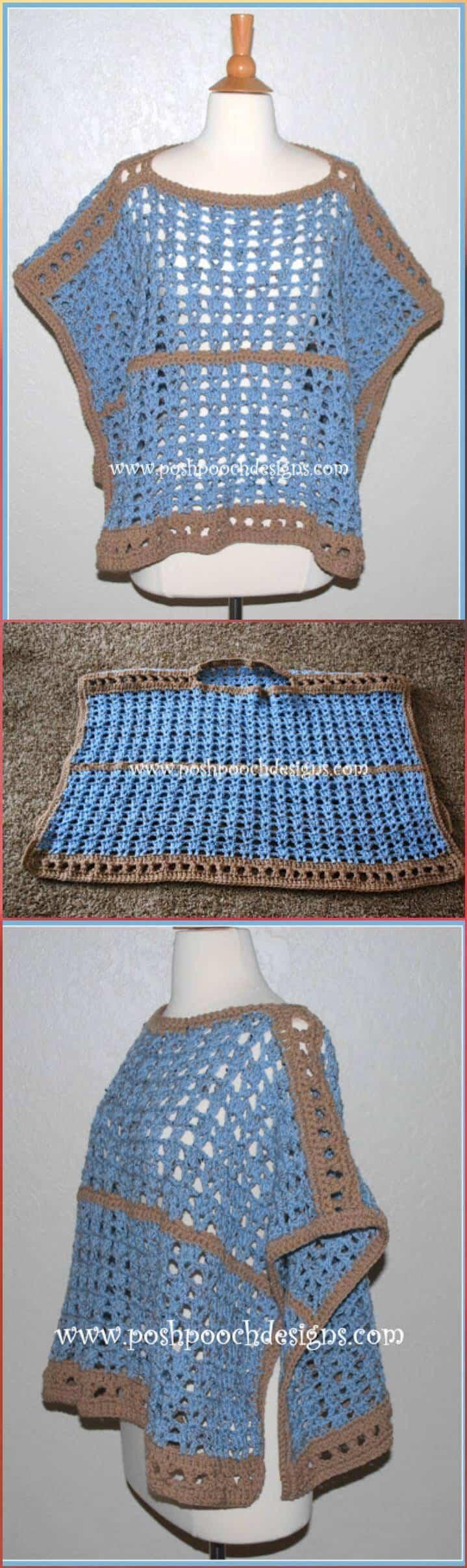 Poncho de mar y arena de crochet gratis