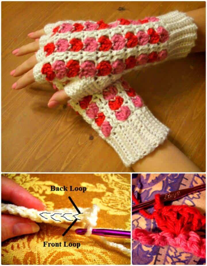 Free Crochet Valentine Scrap Heart Finger Less Gloves Pattern