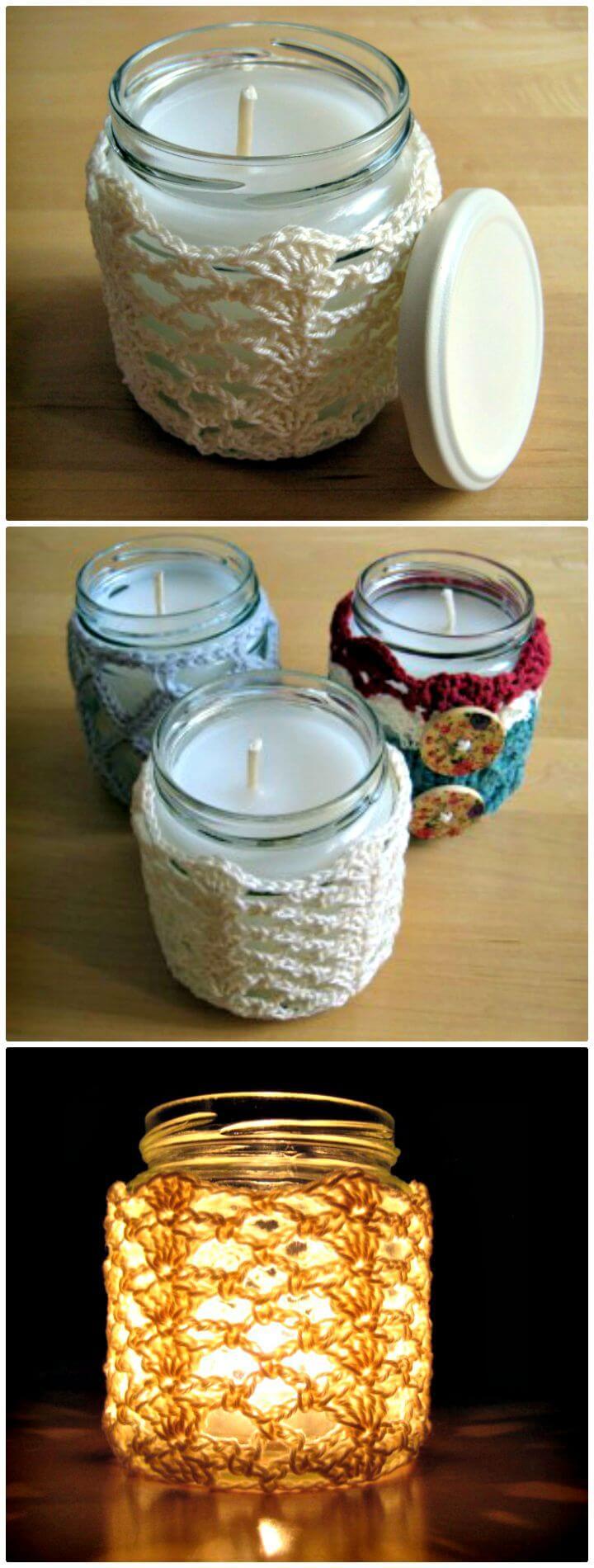 Patrón de cubierta de vela de frasco de encaje y conchas de ganchillo fáciles y gratis