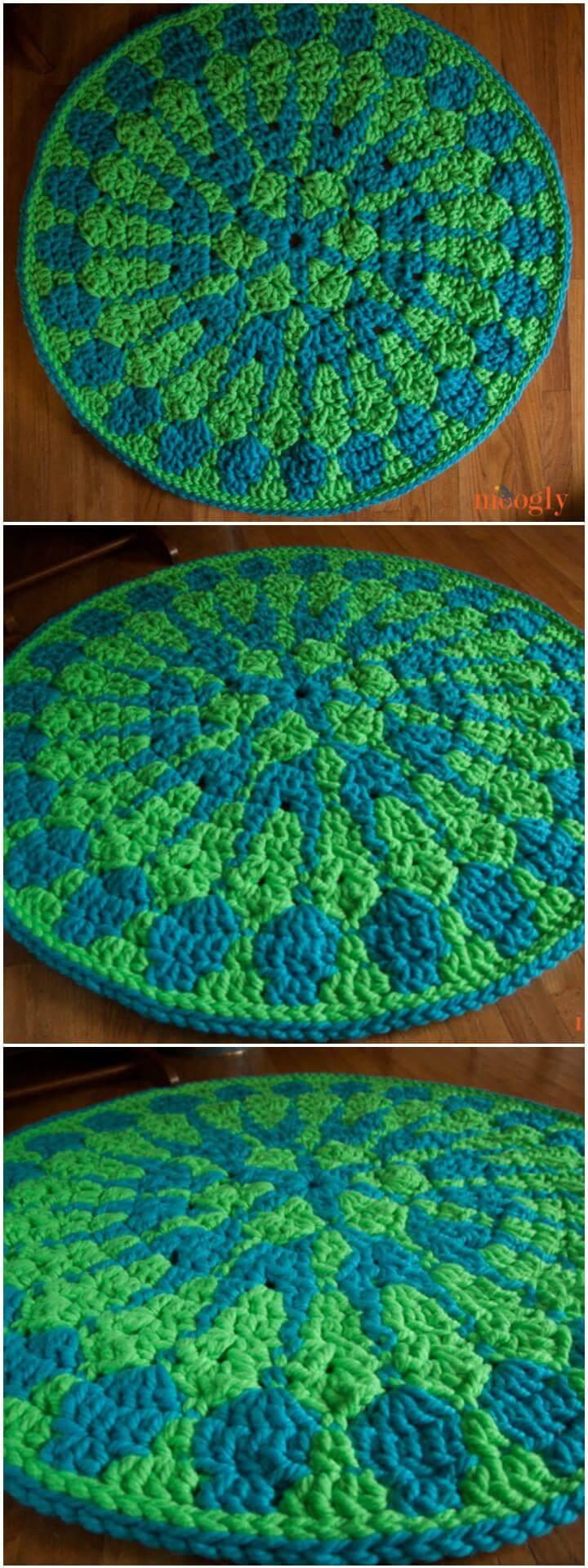 Mandala impactante de crochet de 2 colores