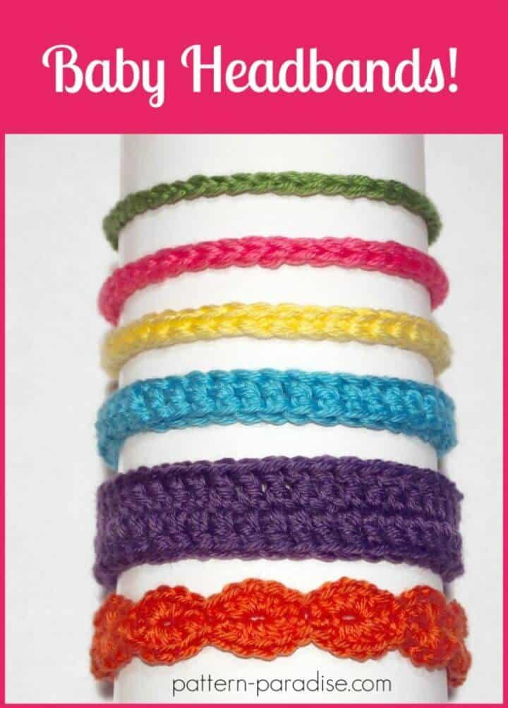 Crochet gratis Seis estilos de patrón de diademas de bebé