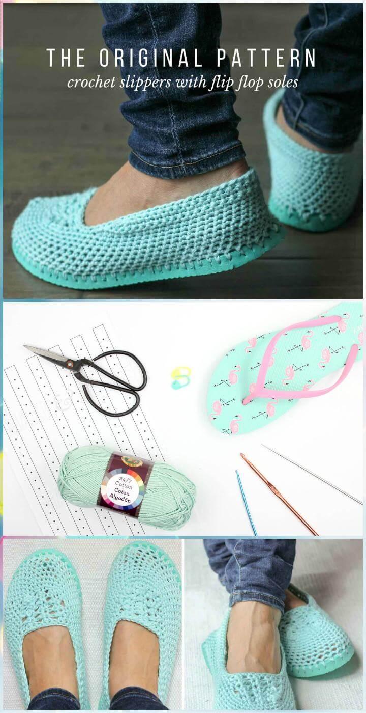 Pantuflas de ganchillo con suelas de chanclas - Patrón de ganchillo gratis