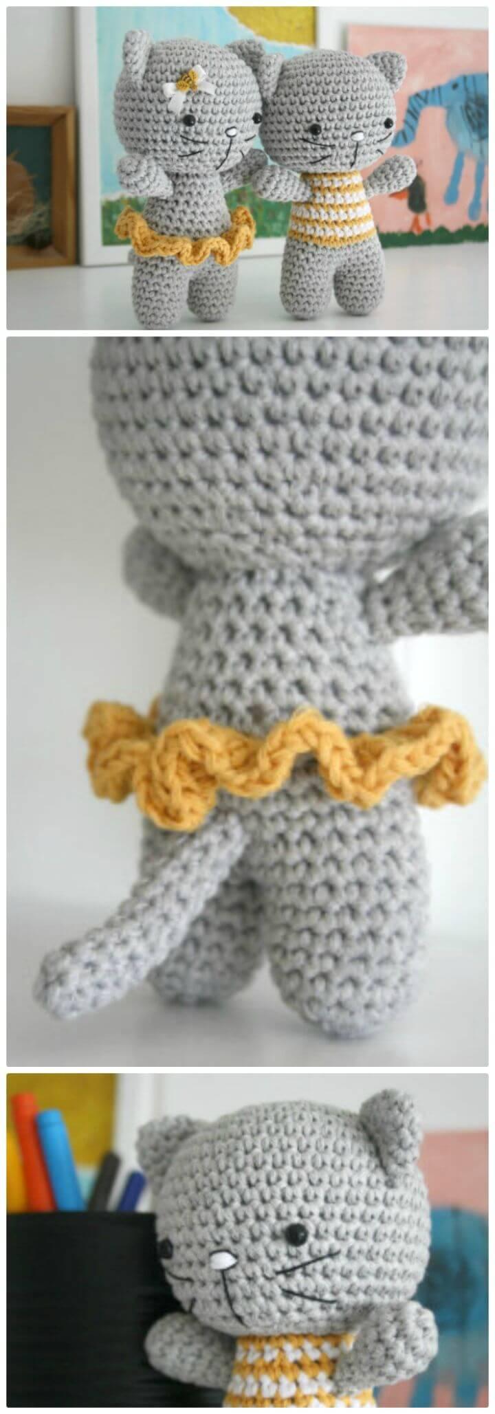 Patrón amigurumi de gato pequeño con patas unidas a crochet gratis