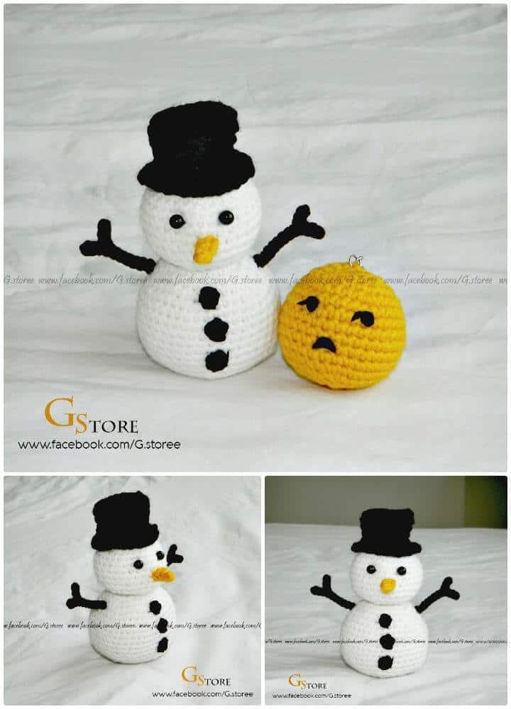 Patrón libre de amigurumi muñeco de nieve fácil de ganchillo