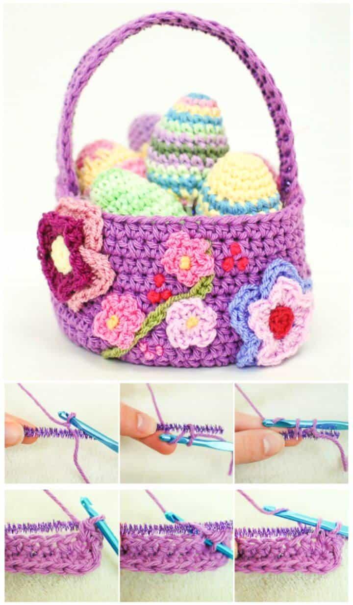 Cómo hacer una canasta de Pascua de primavera en crochet - Patrón gratuito