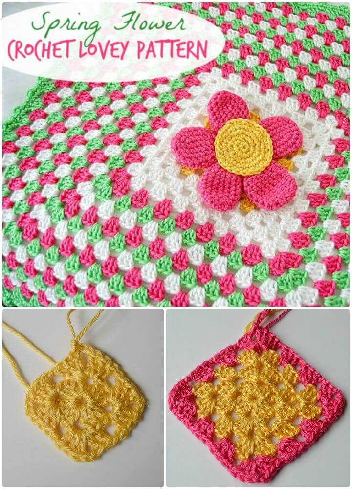 Easy Crochet Spring Flower Lovey - Patrón gratuito