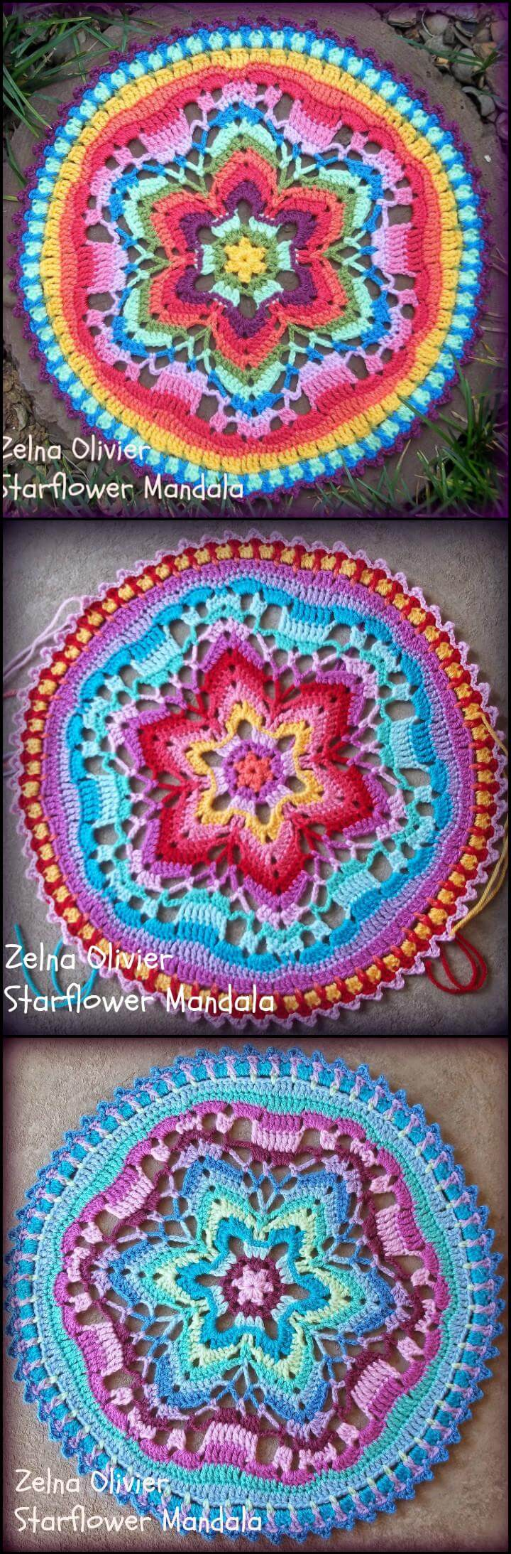 mandala de flor de estrella de ganchillo fácil