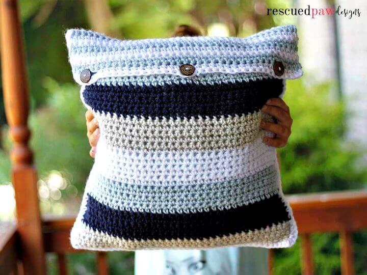 Patrón de almohada de rayas de ganchillo gratis