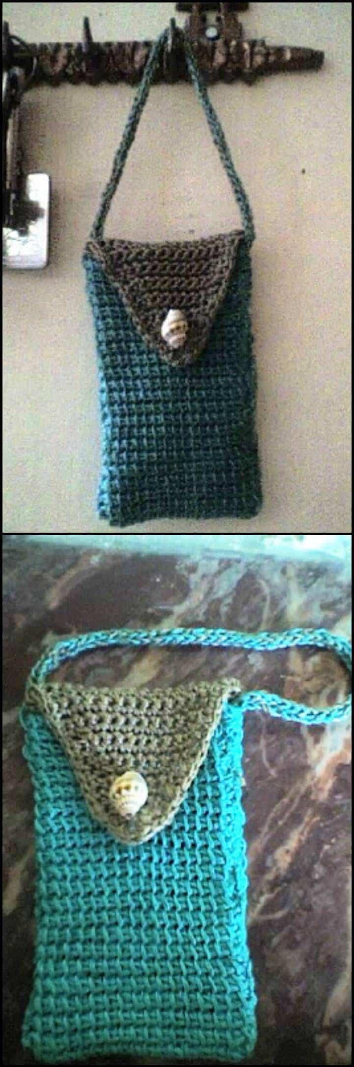 bolso para celular de punto tunecino de crochet gratis