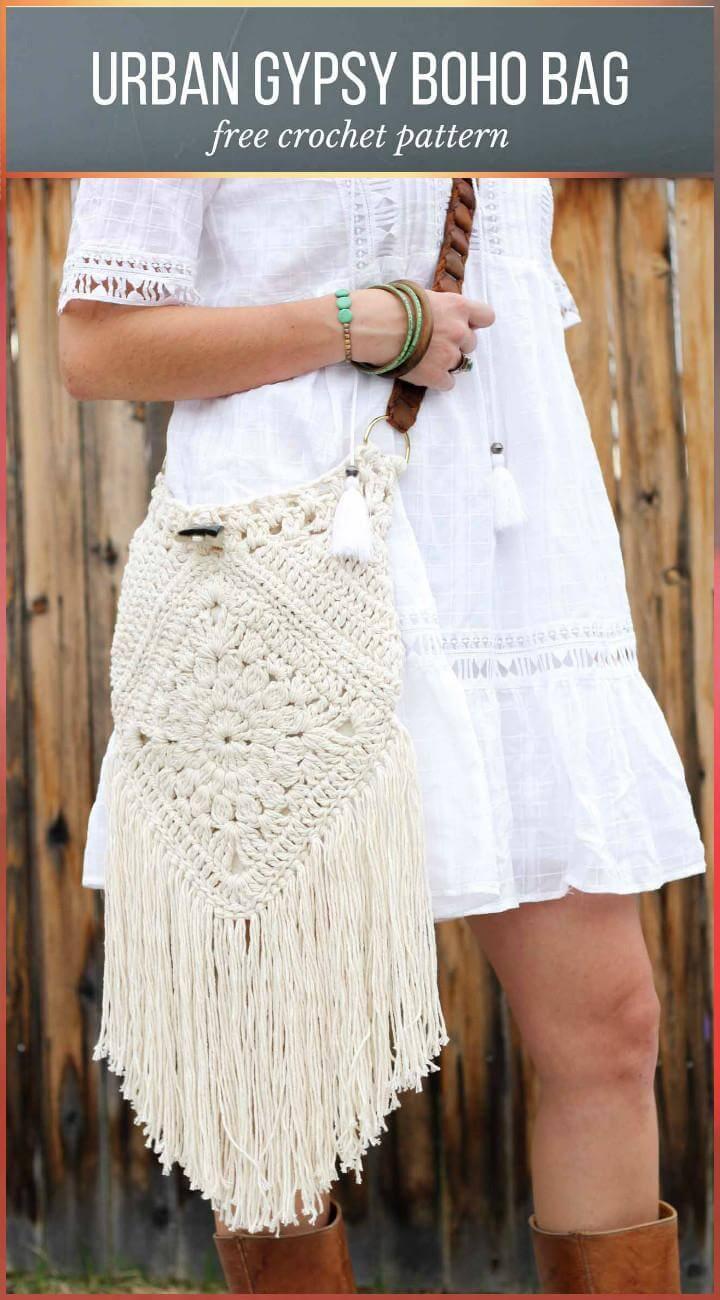 Bolso Crochet Urban Gypsy Boho con Patrón Libre