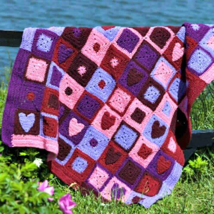 How To Crochet Valentine Hearts Afghan - Free Pattern