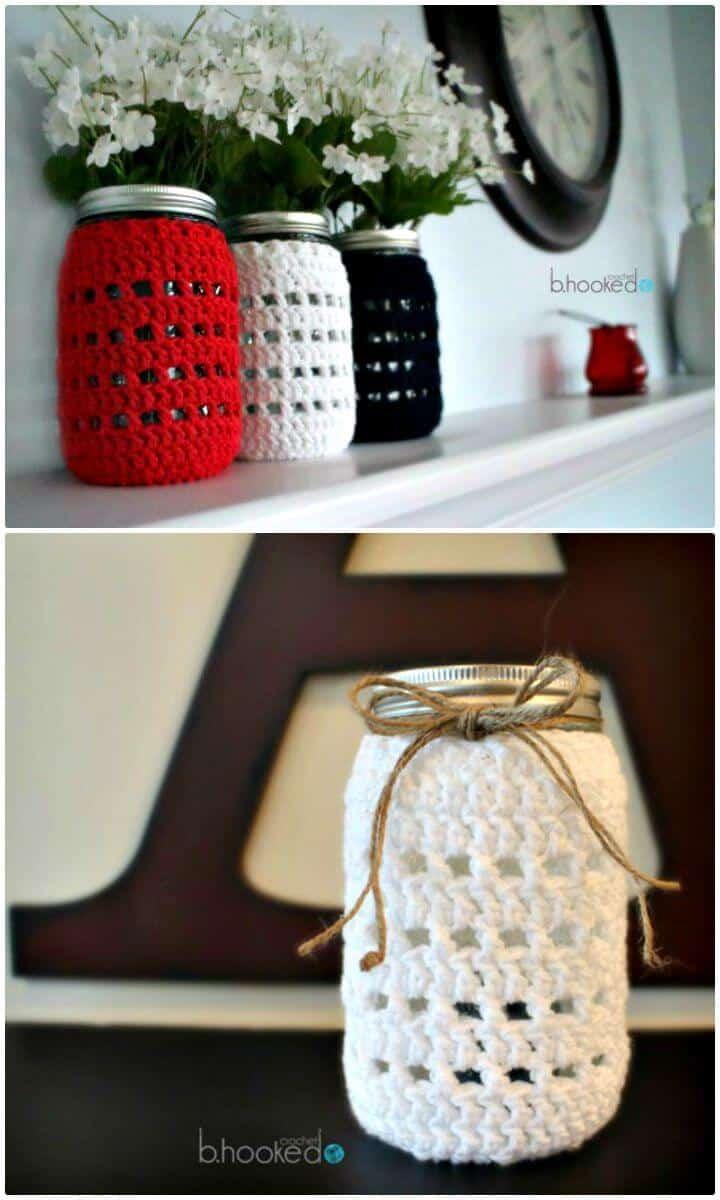 Tarro Mason Blanco Cozy Crochet - Patrón Gratis