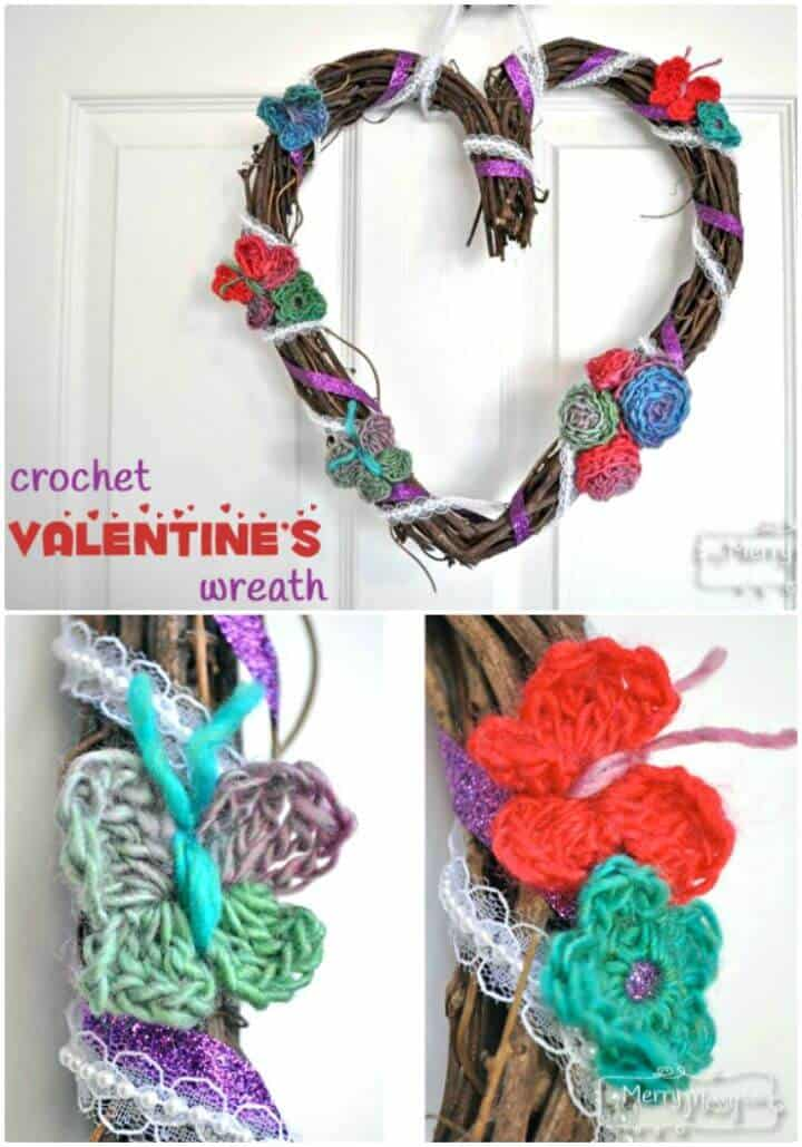 Easy Free Crochet And Ribbon Valentine's Wreath Craft