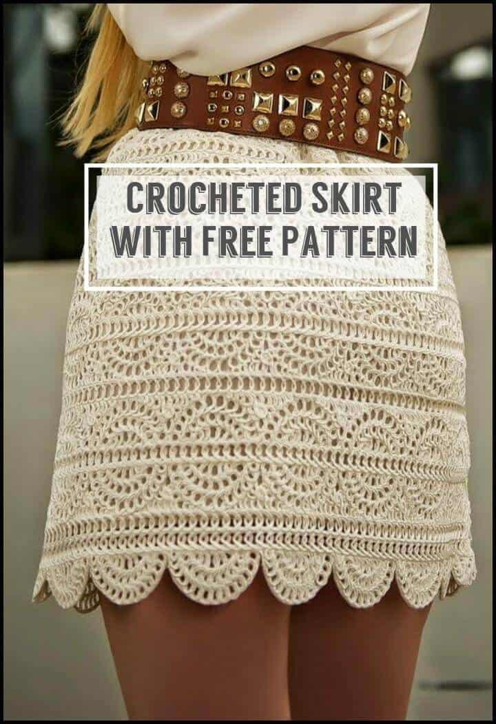 Falda de ganchillo con patrón libre