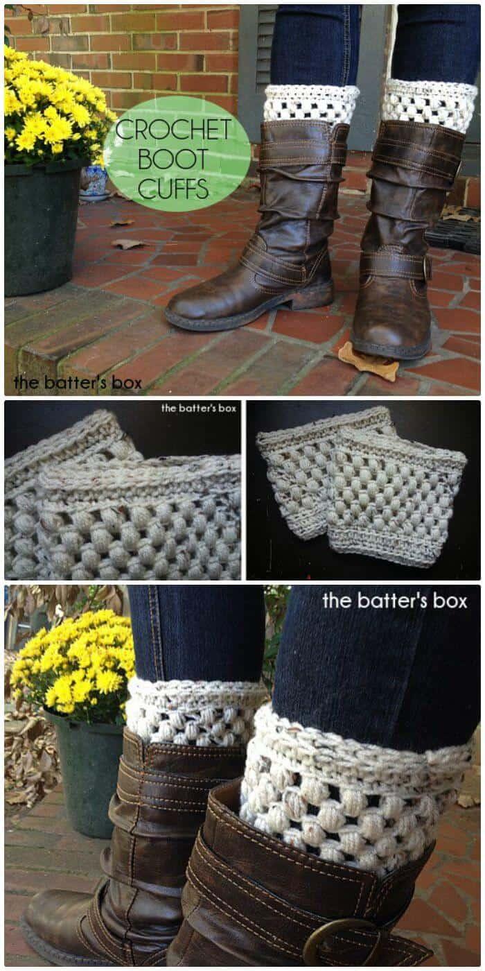 Cómo tejer los puños de las botas a crochet - Patrón libre