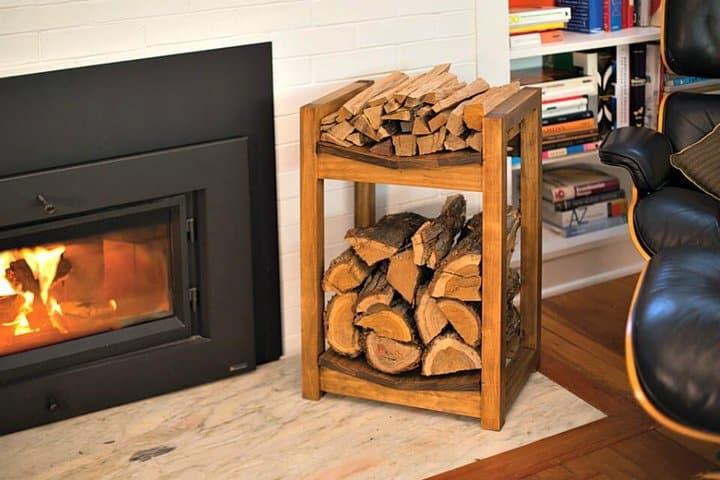 Estante de leña de bricolaje económico para almacenamiento de madera