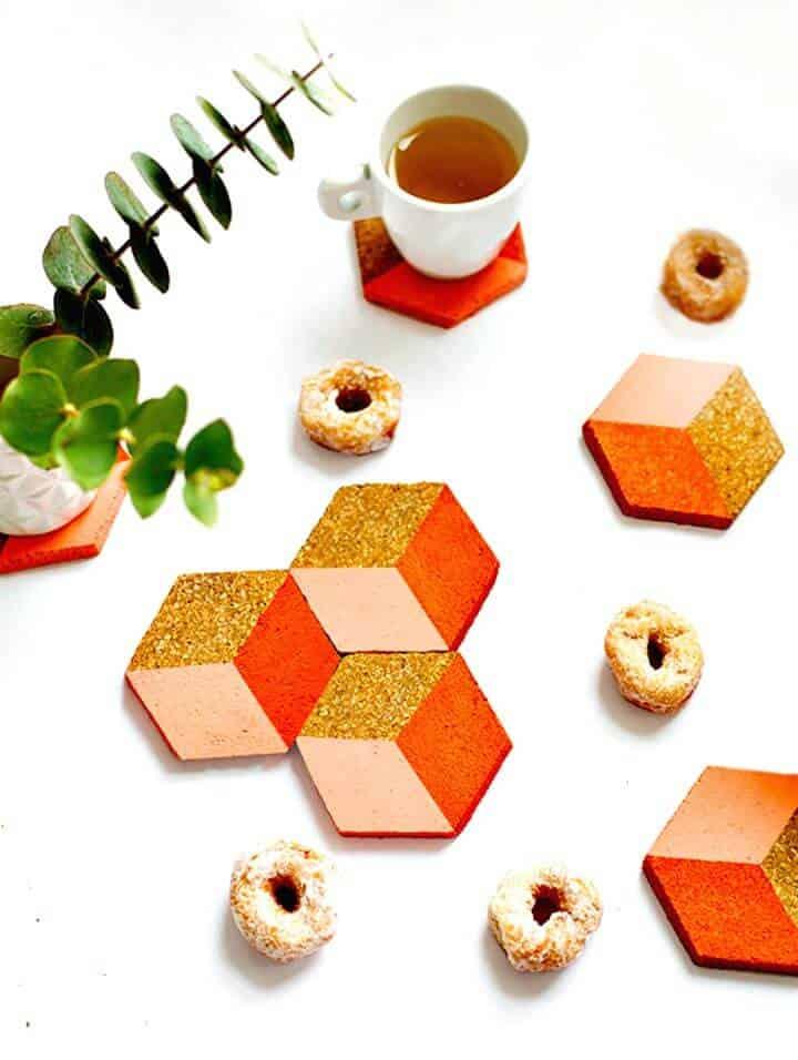 Lindos posavasos geométricos de bricolaje